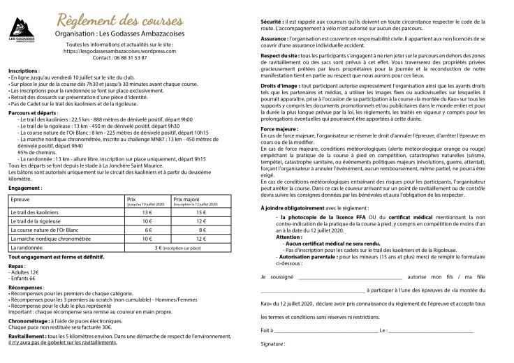 bulletin inscription MdK 2020 réglement